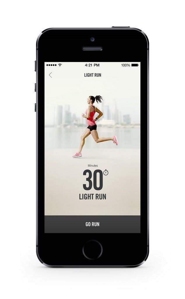 N+TC 應用程式將跑步也納入其四周訓練課程內,如此便與Nike+ Running 應用程式相結合_