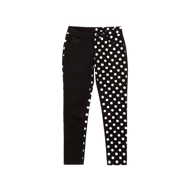 HYOMA SP14 Two-tone Denim Pants with Dotted Print $599