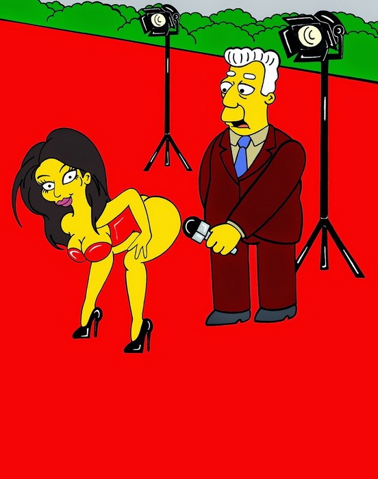Kim Kardashian Red Carpet Red Carpet Booty Homer Simpson The Simpsons Simpsonized Kent Brockman Art Photo Painting Cartoon Satire Illustration Cover Iconic Family Humor Chic by aleXsandro Palombo B
