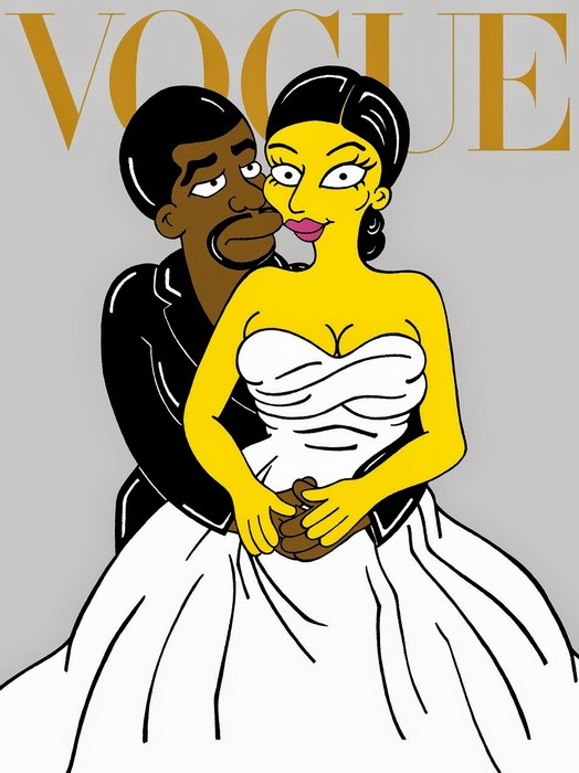 Kim Kardashian and Kanye West Wedding Vogue Cover The Simpsons Simpsonized Fashion Luxury Art Photo Painting Cartoon Satire Illustration Cover Iconic Family Humor Chic by aleXsandro Palombo 1