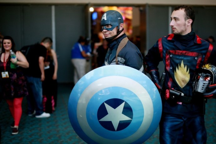 An attendee dressed as Captain America is seen during the 2014 Comic-Con International Convention in San Diego, California