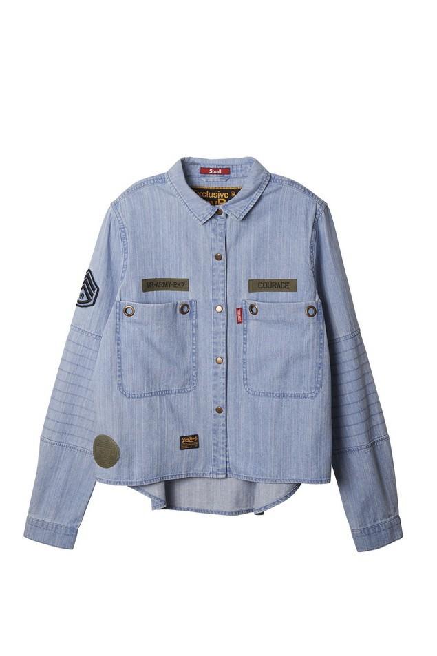 飛行軍事短版襯衫 -藍