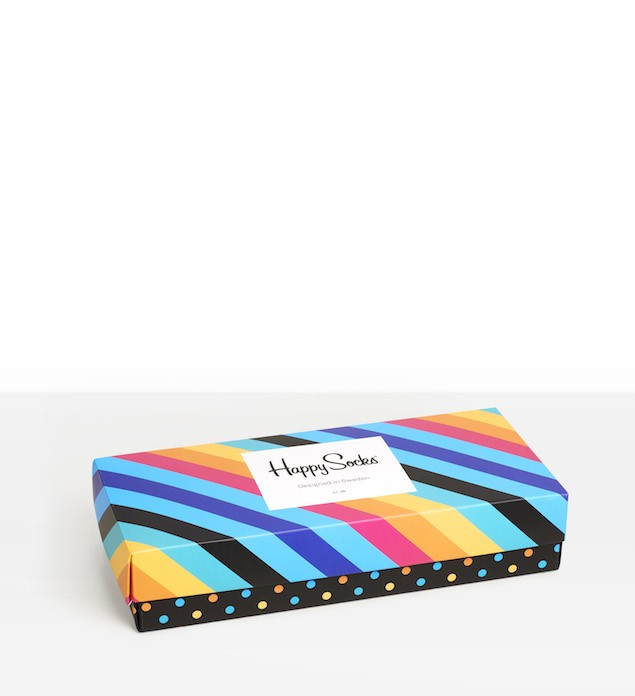 Happy Socks_14FW_Gift Pack_4 Pairs Socks 經典禮盒_多彩斜紋_$1,480(正面)