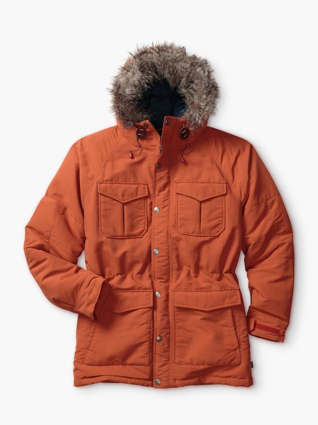 橘色毛帽羽絨外套