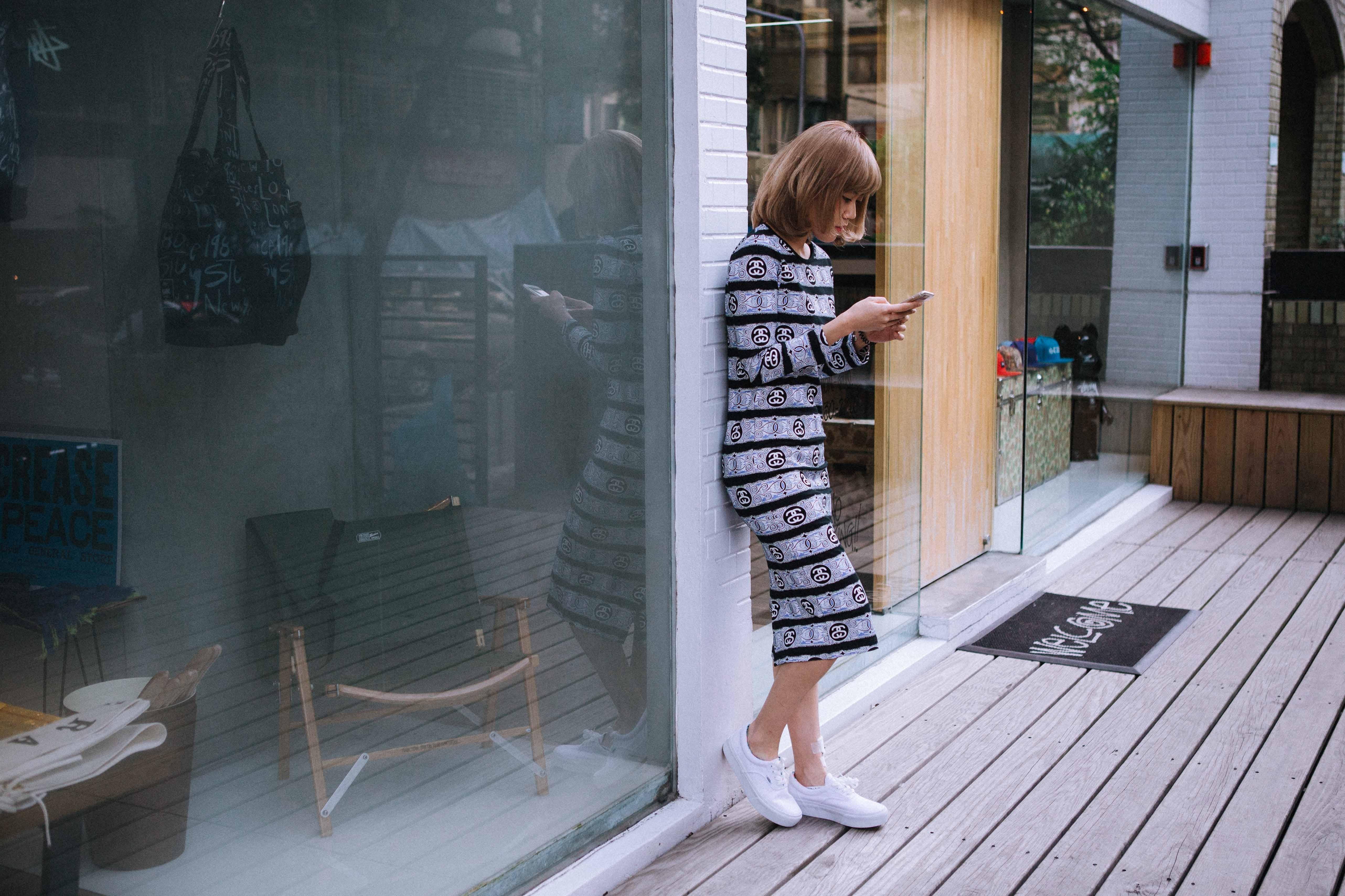dress / SCROLL STRIPE DRESS