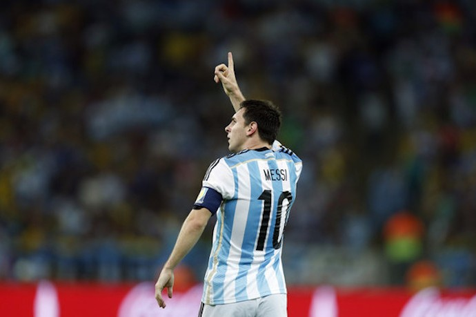 Argentina's Lionel Messi celebrates after scoring his side's second goal during the group F World Cup soccer match between Argentina and Bosnia at the Maracana Stadium in Rio de Janeiro, Brazil, Sunday, June 15, 2014.   (AP Photo/Felipe Dana)