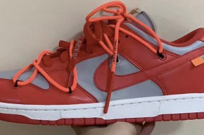 Off-White x Nike SB Dunk Low 灰紅配色正式曝光