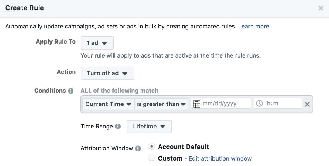 Facebook ads automated scheduling