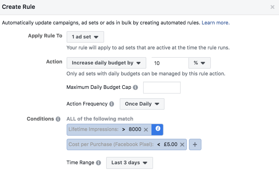 Facebook automated rules adjust budget on CPA