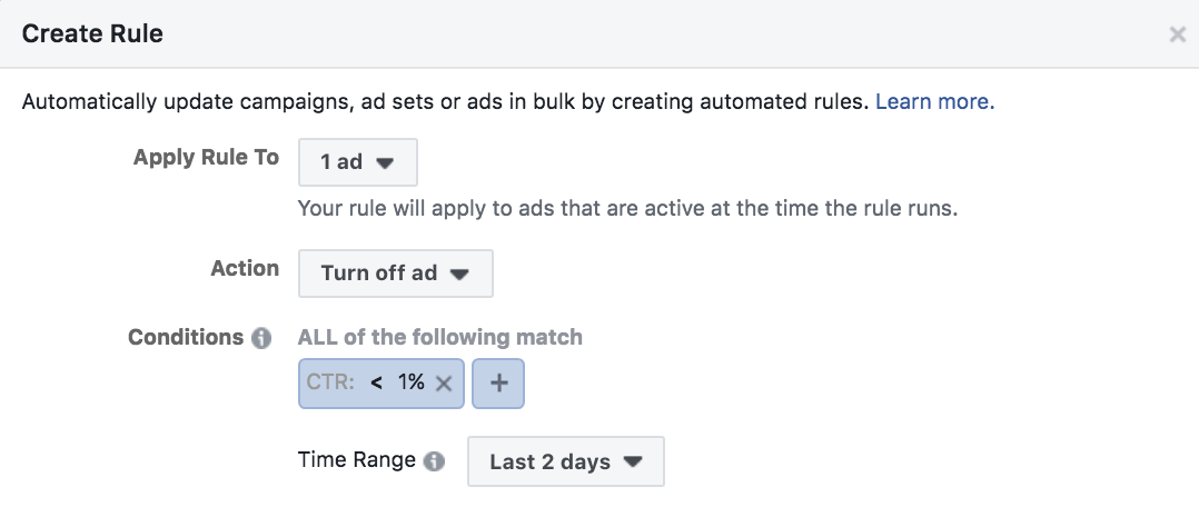 Facebook Ads pause Ads with low CTR