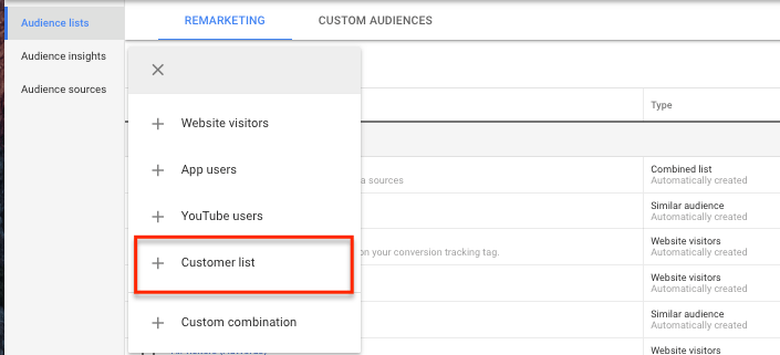 Customer List - Google Ads