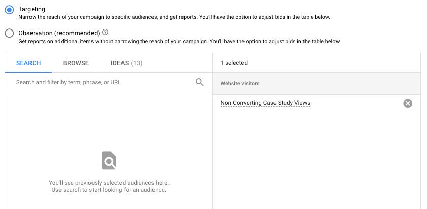 Adding Retargeting Audiences in Google Ads