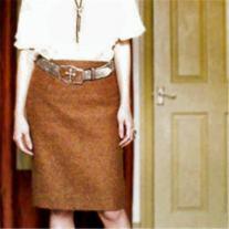 Self-drafted Camel Bouclè Pencil Skirt