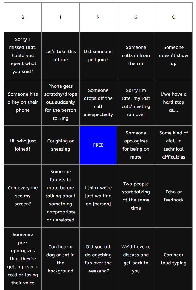 Example of a conference call bingo board
