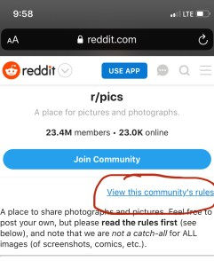 Mobile view of Reddit and how to view a subreddit rules