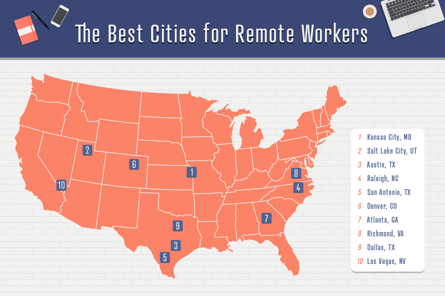 U.S. map of the best cities for remote workers