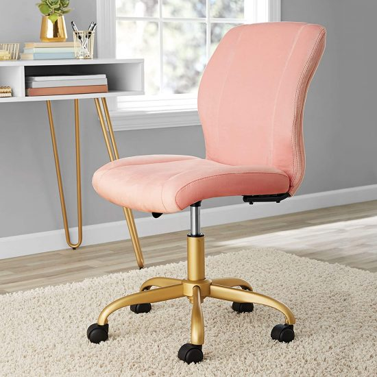 Chic & Elegant Pearl Plush Velvet Office Chair With Golden Base