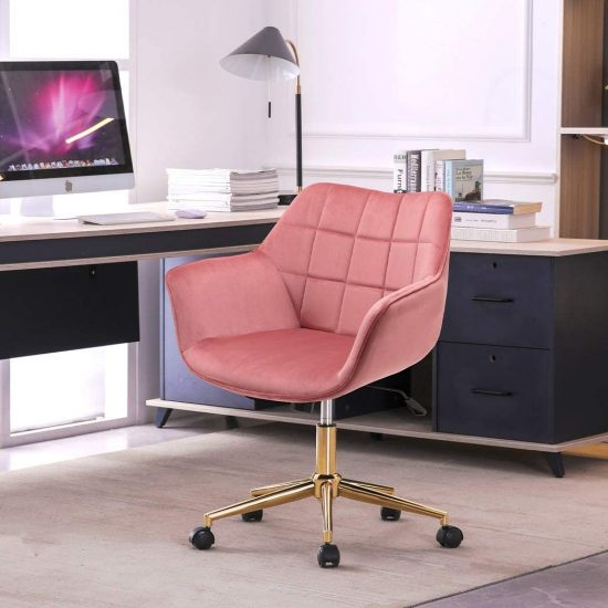 Duhome Modern Home Office Chair Velvet Desk Chair with Gold Metal Base