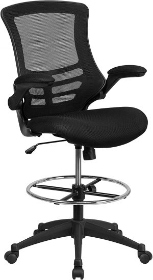 Flash Furniture Mid-Back Black Mesh Ergonomic Drafting Chair