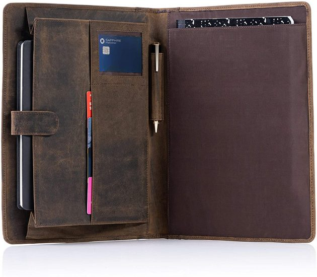 KomalC Leather Business Portfolio Folder Personal Organizer