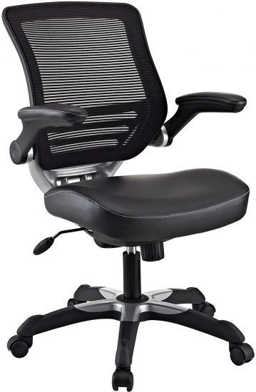 Modway Edge Mesh Back and White Vinyl Seat Office Chair With Flip-Up Arms