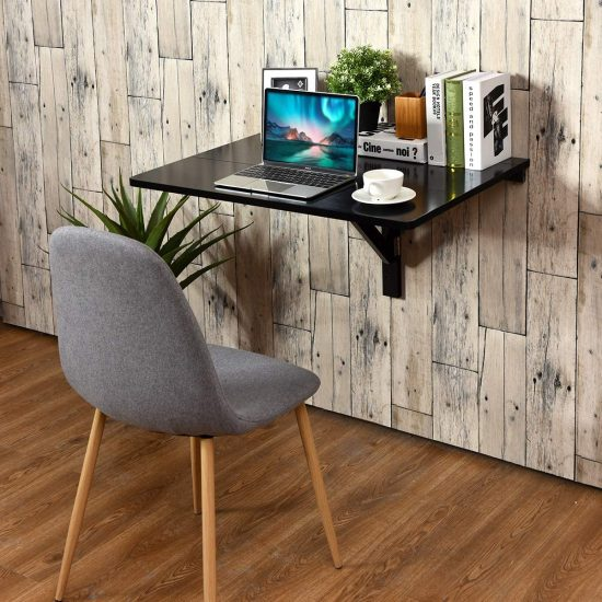 Tangkula Wall-Mounted Drop-Leaf Table, Simple Floating Folding Laptop Desk