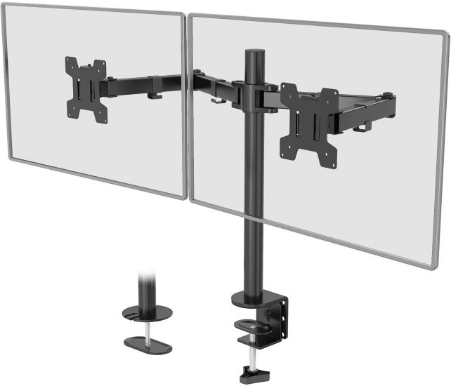 WALI Dual LCD Monitor Fully Adjustable Desk Mount Stand