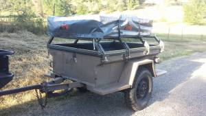 Military trailer with rooftop tent