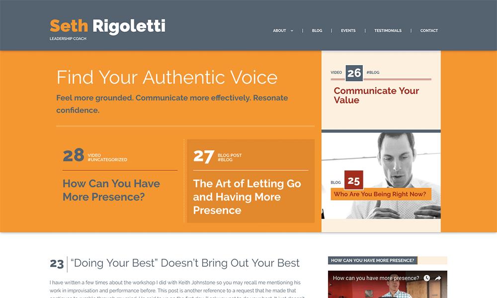 A screenshot of Seth Rigoletti's website.