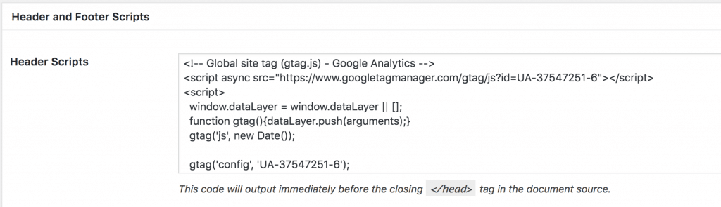 A screenshot displaying the Google Analytics code pasted into the Header Scripts box.