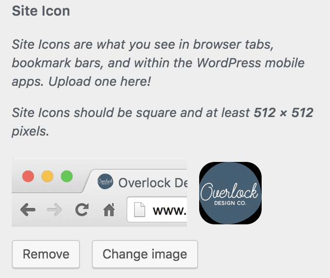 Once the icon is saved, you get a neat little preview of it. WordPress will show you how the icon looks in a web browser and on a mobile device.