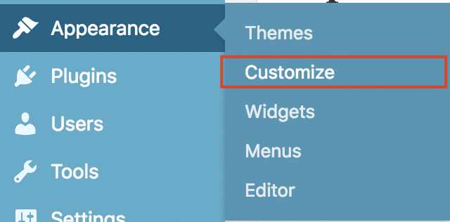 You can also access the Customizer by going to the Appearance section in the Dashboard and clicking Customize.