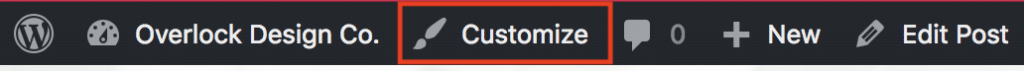 You can find the Customize option in the top admin bar on the front-facing portion of your WordPress website.