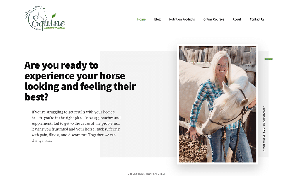 Angie at Equine Essential Wellness is a horse expert.