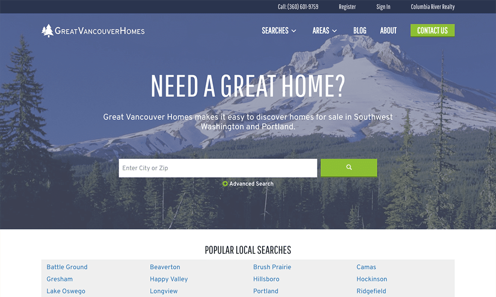 Great Vancouver Homes is a real estate website for a realtor in Vancouver, WA.