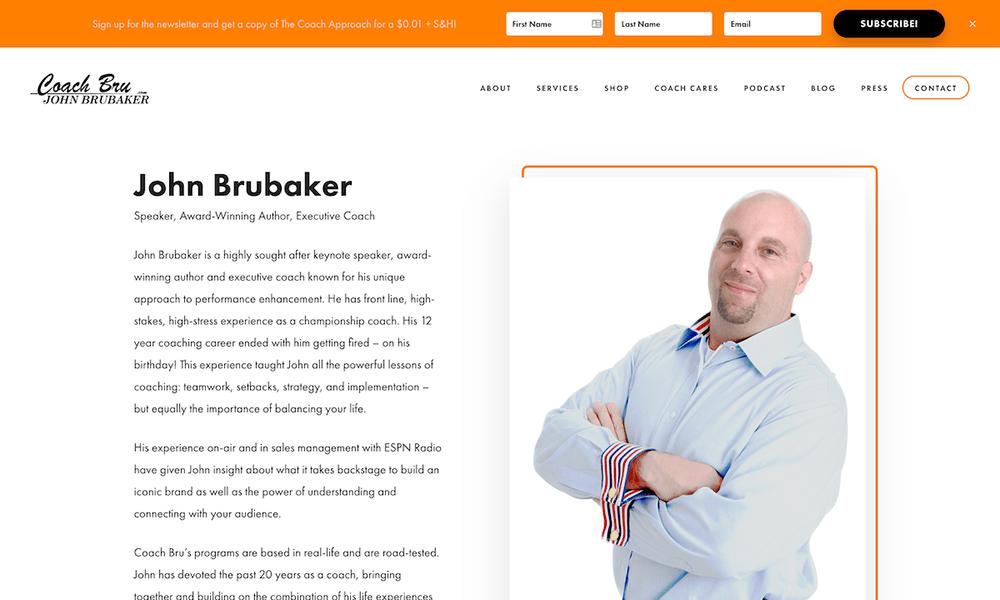 Coach Bru's new Genesis-powered website is modern and sleek.