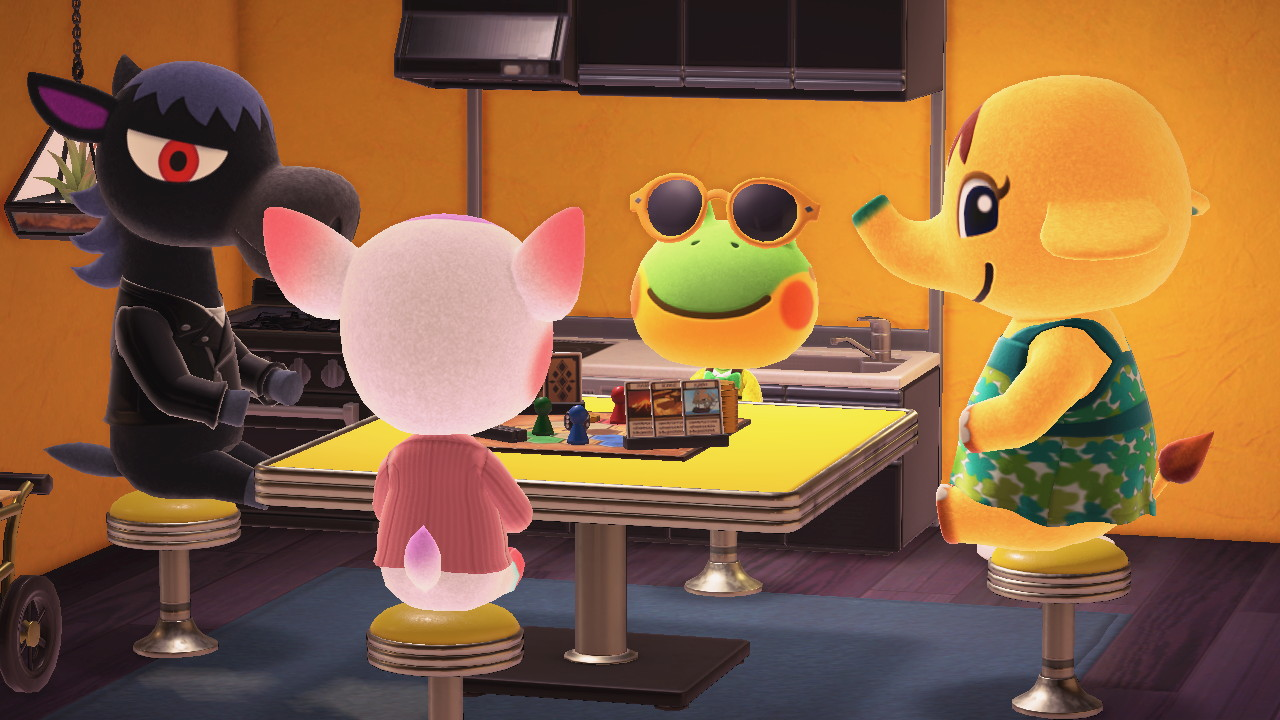 Four villagers from Animal Crossing round a table, playing a board game in-game.