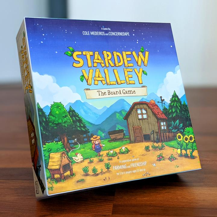 Photo of Stardew Valley board game in its box.