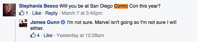 james gunn says no comic con for marvel