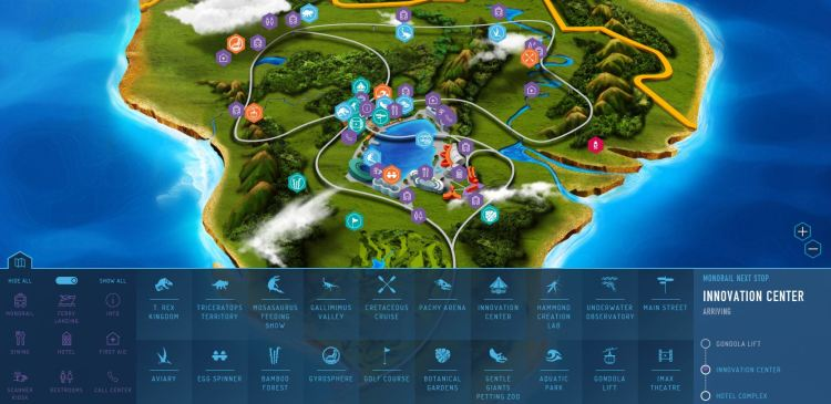 jurassic world interactive map