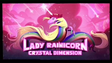 "Title card for ""Lady Rainicorn of the Crystal Dimension"""