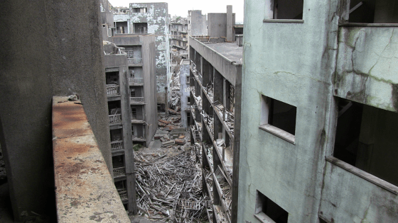 Hashima Island in nagasaki Prefecture, abandoned in 1974