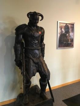 "Skyrim Statue with ""I Voted"" Sticker"