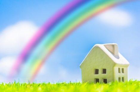 rainbow and house