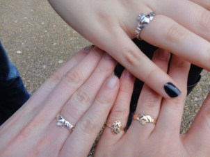The Claddagh rings we bought. Mine is the gold!