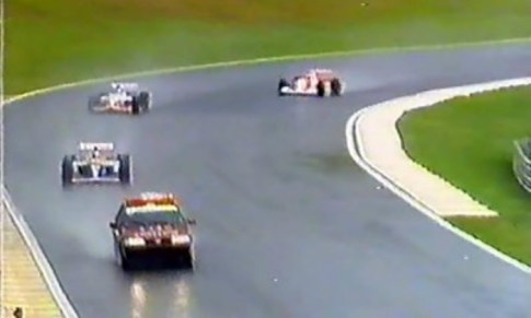 The first official pace car was a Fiat Tempra, seen here during the 1993 Brazillian GP due to the wet conditions.