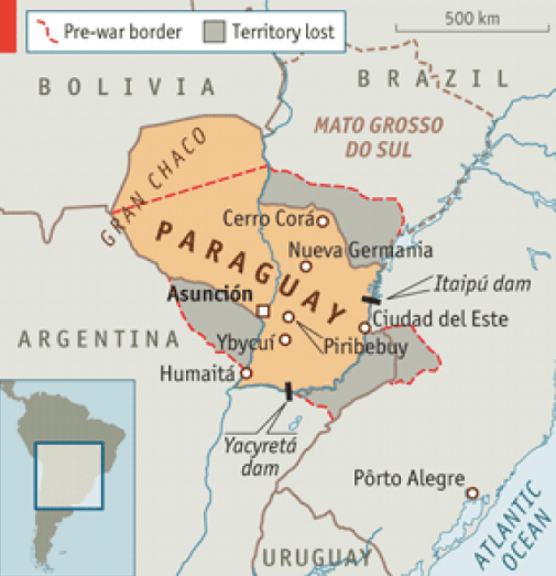 Paraguay Pre and Post War Borders