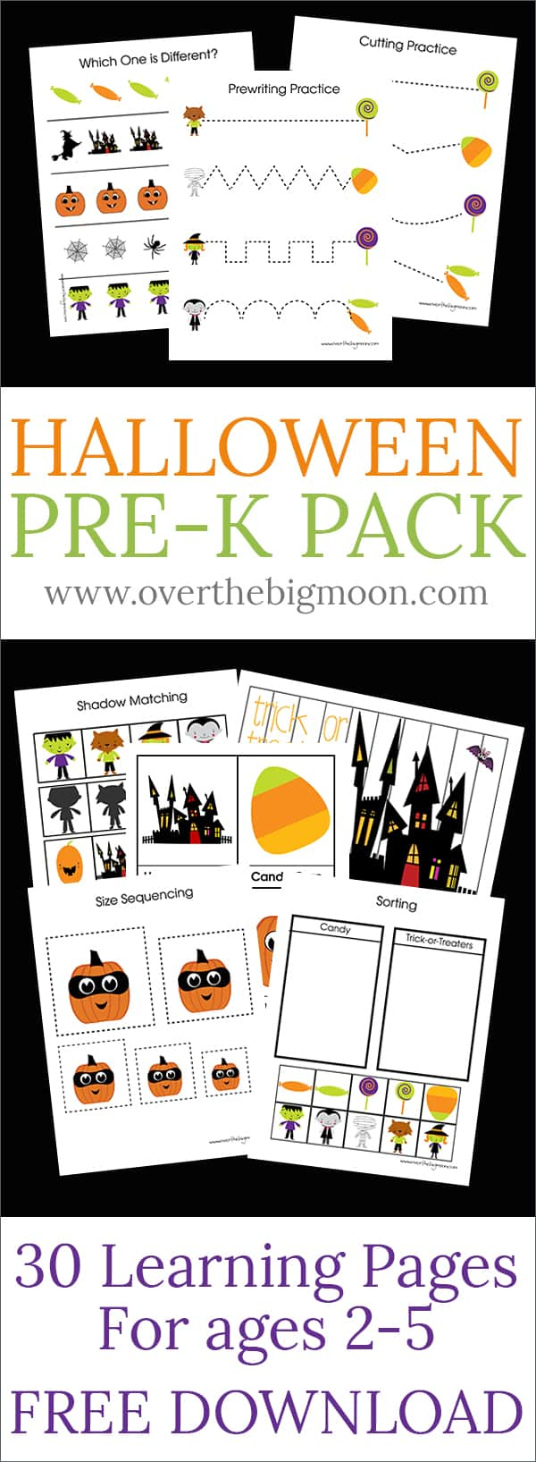 FREE Halloween Pre-K Pack - 30 pages of Halloween learning and fun for ages 2-5! Download your pack today! From www.overthebigmoon.com!