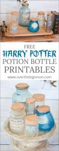 Free Harry Potter Potion Bottle Printables - create your own potion bottles with these free printables! From www.overthebigmoon.com!