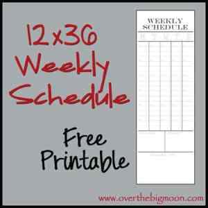 12x36 Weekly Schedule